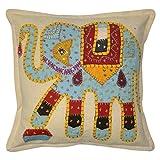 Lalhaveli Vintage Elephant Art Patchwork Embroidery Cotton Pillow Cover 16 Inches 1 Pc - B00MXUT074