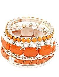 Young & Forever Valentine Special Tropical Summer Tangerine Stack 'em Up Orange Bangle Bracelet For Women By CrazeeMania