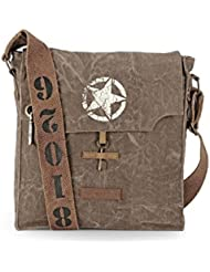 The House Of Tara 100% Cotton Canvas Messenger Bag In Distress Finish (Acorn Brown)