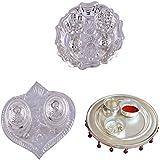 GS MUSEUM Silver Plated Rani Kumkum Plate, Silver Plated Pan Kumkum Plate And Silver Plated 4 Inchi Pooja Thali...