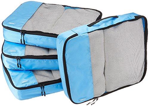 AmazonBasics Lot de 4sacoches de rangement pour bagage TailleL, Bleu Ciel