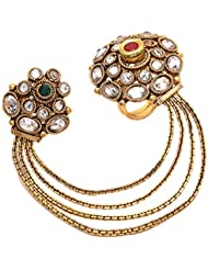 Geode Delight Kundan Made Double Finger Ring For Wedding Jewelry