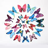 AWAKINK(TM) 12 Pcs Pink + 12 Pcs Blue 3d Butterfly Stickers Home Decoration Removable 3d Butterfly Wall Stickers...