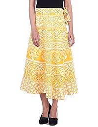 MSONS Women's Yellow Paisley Printed Medium Rapron Skirt In Cotton Fabric - Free Size