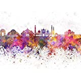 ArtzFolio Delhi Skyline, India - Large Size 26.7 Inch X 20.0 Inch - FRAMED CANVAS Wall Paintings With 1 Inch THICK WOODEN STRETCHING MOUNT : DIGITAL PRINT Wall Posters Art Panel Like Hand Paintings : Home Interior Wall Décor Photo Gifts & Decor