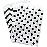 Outside The Box Papers Black And White Polka Dot And Chevron Treat Sacks-Favor Bags Made In USA Wedding Birthday...