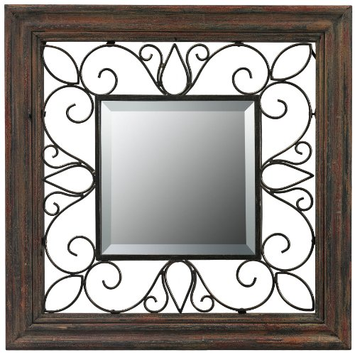 Sterling 26-8652 Almeda Burnished Wood Framed Mirror, 19-Inch, Red/Brown Aged Finish