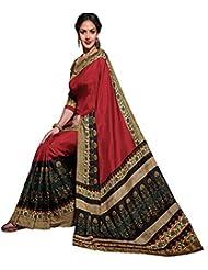 Glory Sarees Women's Bhagalpuri Art Silk Saree (gloryart02_red And Black)