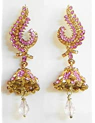 Faux Ruby And Citrine Jhumka Earrings - Stone And Metal