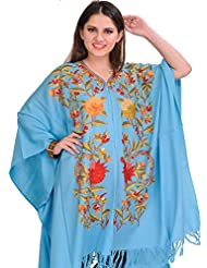 Exotic India Sky-Blue Cape From Kashmir With Ari Embroidery By Hand - Blue