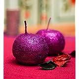 Blackberry Overseas Set Of 2 Decorative Ball Shaped Sparkle Pillar Candle - B016A2IOCW