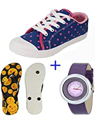 Earton COMBO Pack Of 3 Women's Multicolor (Casual Shoes,Slippers & Watch)