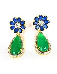 Orne Jewels Floral Sapphire Emerald Drop Earrings