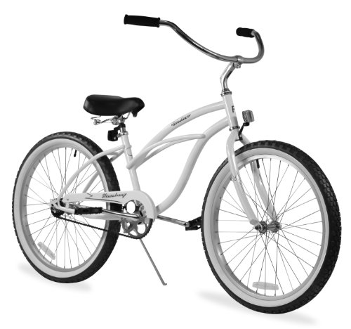 Sturdy White Beach Cruiser Bicycle for Short Women