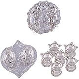GS MUSEUM Silver Plated Rani Kumkum Plate, Silver Plated Pan Kumkum Plate And Silver Plated Set Of 6 Standing... - B01GA8JNLM