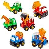 Fajiabao Kids Push Back Car Set Toy Mini Digging Car Mixer Truck Dump Truck And Cars Truck Model Toys For Boys...