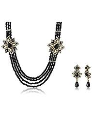 Ava Traditional Multi-strand Jewellery Set For Women (Black) (S-GA-287)
