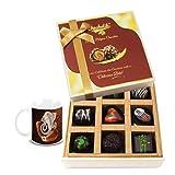 Chocholik Belgium Chocolates - 9pc Soft And Sweet Dark Chocolate Box With Diwali Special Coffee Mug - Diwali Gifts