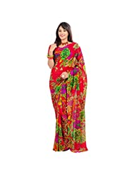 Indian Chic Red Colored Floral Printed Faux Georgette Saree By Triveni - B00RYRL6VO