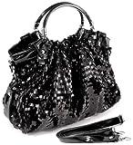 AUDREY Black Glitz Rectangle Sequin-Embellished PU Patent Leather HandBag Purse Evening Satchel Bag