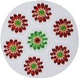 Nandini Acrylic Selfie Decorative Rangolis (6 Cm X 6 Cm X 1 Cm, Green & Red)