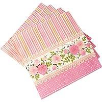 """Pink Stripes & Floral Border Paper Napkins (13"""" X13"""") Pack Of 2"""