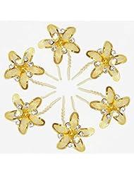 DollsofIndia Set Of Six White Stone Studded Golden Metal Flower Hair Pin - Metal - Golden