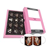 Chocholik Belgium Chocolate Gifts - Sweet And Romantic Chocolate Hearts With Diwali Special Coffee Mugs - Diwali...