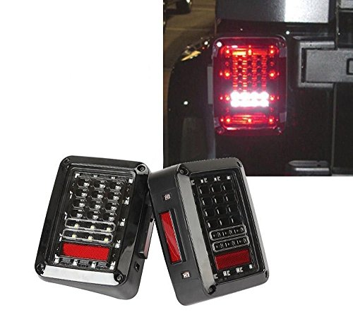 Fits 2007-2015 Jeep Wrangler Jk TJ LJ leds LED Tail Lights Rear Brake Reverse Lamps
