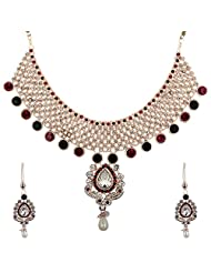 Lucky Jewellery Rani And Green Guluband Necklace Set With Mang Tika For Women