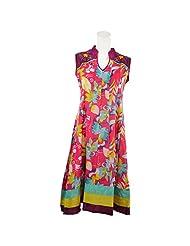 Pooja Multi Color Kashida Cotton Anarkali Kurti For Women - B00TU0K8TE