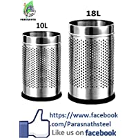 "Parasnath Stainless Steel Perforated Open Dustbin, Stainless Steel Garbage Bin,Medium And Large - 10 Litre (8""..."