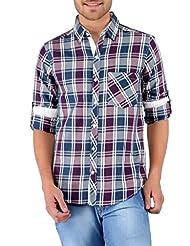 Nick&Jess Mens Purple & Blue Checkered Contrast Casual Shirt