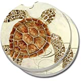 CounterArt Absorbent Stoneware Car Coaster, Sea Turtle, Set Of 2 By CounterArt