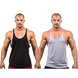 2 X Dk Active Wear BODY BUILDING STRINGER, GYM VEST, GYM STRINGER VEST 100% COTTON (Black,Grey) Large