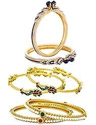 Jewels Galaxy Combo Of Peacock American Diamond Bangles, Mayur Bangles And Designer Pearl Bangles - Pack Of 6