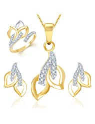 Sukkhi Beguilling Classy Gold And Rhodium Plated CZ Pendant Set And Ring Combo For Women