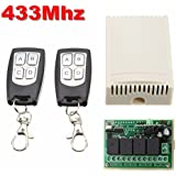 Alcoa Prime DC 12V 433mhz 4CH 200m Wireless Remote Control Relay Switch Receiver + 2 Transceiver Learning Code