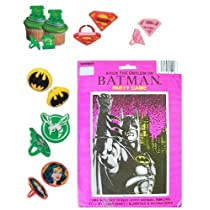 24 DC Super Hero Cupcake Rings with Batman Party Game - DC Super Hero Bundle