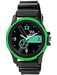 Watch Me Black Dial Black Sports Strap Sports Watch-Green For Men And Boys -217twm