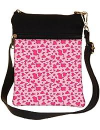 Snoogg Pink Pattern Cross Body Tote Bag / Shoulder Sling Carry Bag