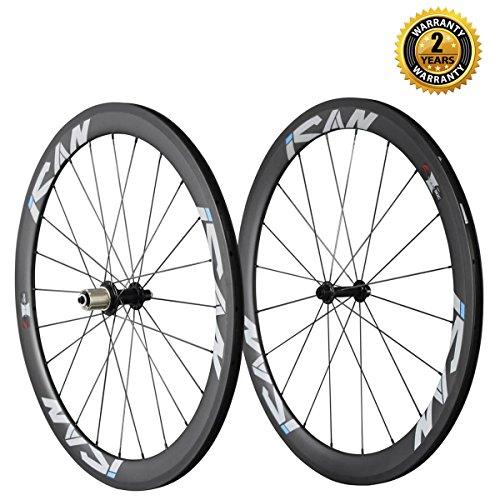 ICAN 50mm 700C Clincher Rim Carbon Wheelset for Road Bike Shimano 10/11 Speeds Cassette 20/24 Holes