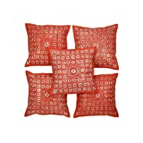 Rajrang Red Cotton Embroidered With Mirror Work Cushion Cover Set Of 5 Pcs #Ccs05712
