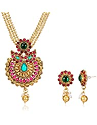 Poetry Accessories Pearl Jewellery Set For Women (Gold) (PMNE-010)