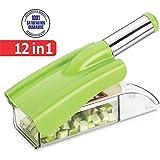 Slings Ritu's Stainless Steel 12 In 1 Chipser Slicer, Green And White