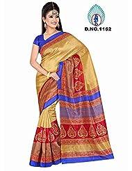 Winza Women's Raw Silk Saree (Exclusive Ethnic Desi Art Silk Cotton Bolly Fancy Sarees For Women 1162_Multicolor)