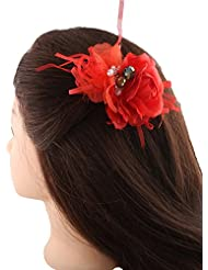 Anuradha Art Red Colour Styled With Stone Hair Accessories Side Pin Stylish Hair Clip For Women/Girls