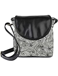 Snoogg Seamless Hand Drawn Waves Texture Womens Sling Bag Small Size Tote Bag