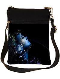 Snoogg Light Headphones Cross Body Tote Bag / Shoulder Sling Carry Bag