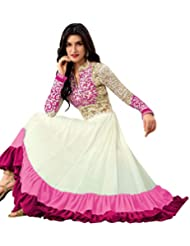 Latests Fashion Women's White Salwar Suit Dupatta Dress Material (kriti Sanon Dresses)